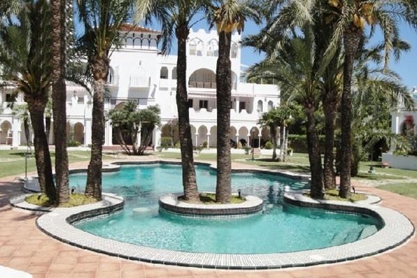 Der paradiesische Pool umgeben von majestätischen Palmen