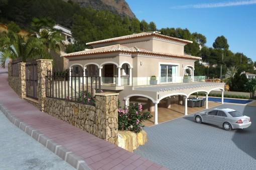 Neubau-Villa auf einem sehr sonnigen Grundstück mit freiem Blick auf das Tal und die Berge