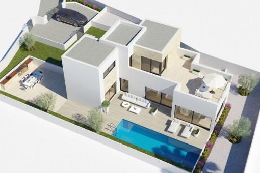 Gesamtansicht des modernen Neubauprojektes