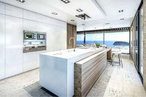 Moderne Küche mit weißen Fronten