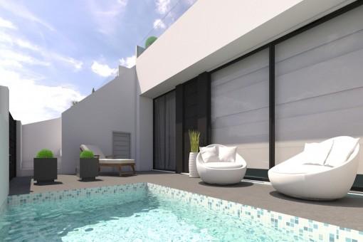 Reihenhaus im Bau mit privatem Pool und Dachterrasse in Pilar de la Horadada