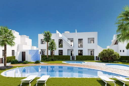 Attraktives Reihenhaus in einem neuen Wohnkomplex mit Gemeinschaftspool und -garten in Pilar de la Horadada