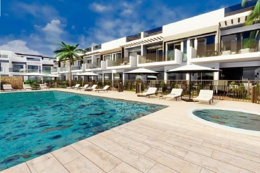 Herrliches Bungalow-Haus in einem neuem Wohnkomplex mit Pool und Garten in San Javier